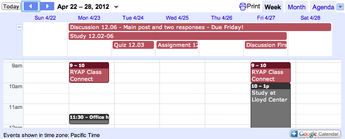 Screen Shot of one of my class calendars mixed with office hours.
