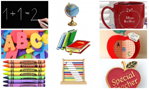 Typical teacher gifts in red and apple...