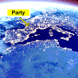 "Image of Earth at night with a sign saying ""Party"""