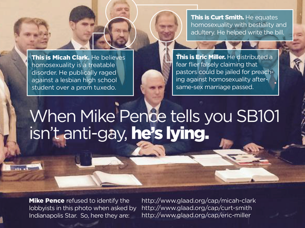 Lobbyists at Pence signing of Religious Freedom biill: Micah Clark, Curt Smith, Eric Miller